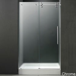 VIGO 48-inch Frameless Center Drain Shower Right Door 0.375-inch Frosted Glass With White Base