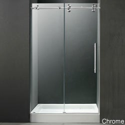 VIGO 60-inch Frameless Center Drain Shower 0.375-inch Clear Glass With White Base
