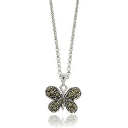 Silver Overlay Marcasite Butterfly Necklace