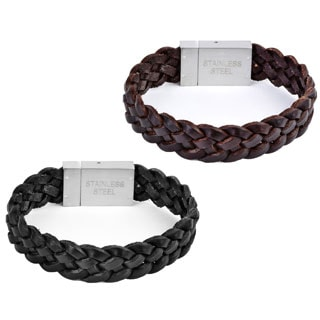 Crucible Stainless Steel and Leather Men's Woven Bracelet