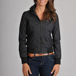 Members Only Women&#39;s Classic Nylon Hoodie Bomber with Jersey Hood Lining