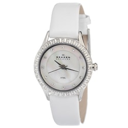 Skagen Women's Accented White Leather Strap Watch