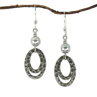 Silver With Oval Antique Silver Hammered Drop Earrings