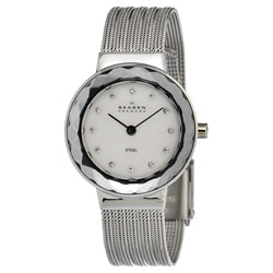 Skagen Women's Steel Striped Mesh Strap Crystallized Watch