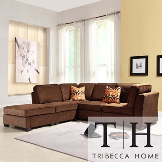 Tribecca Home Barnsley Collection Dark Brown Polyester 5-piece Sectional Set