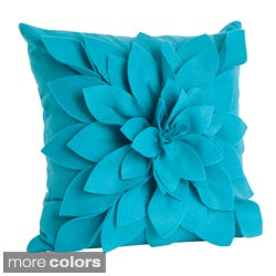 Ivory Felt Flower Design Pillow (17 x 17)