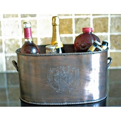 Duet Wine Bucket in Brass with Antique Copper Finish (India)