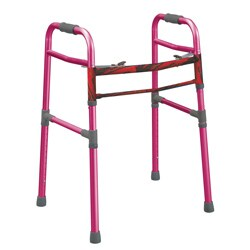 Drive Medical Pink Two-button Folding Universal Walker