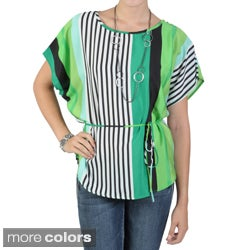 Tressa Designs Women's Contemporary Plus Striped Tie-Waist Top
