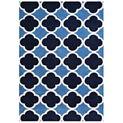 Alliyah Handmade Azure Blue New Zealand Blend Wool Rug (5x8)