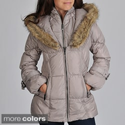 Hawke & Co Women's Faux Fur Trim Hood Puffer Jacket