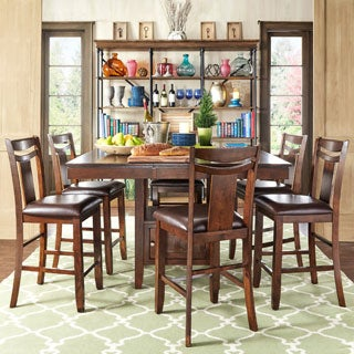TRIBECCA HOME Marsden Rustic Brown Mission Counter Height Extending Dining Set