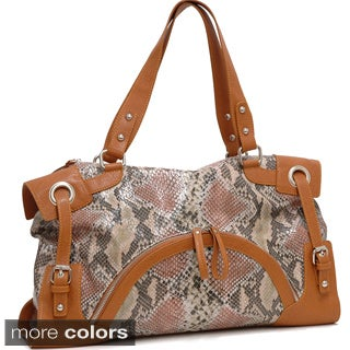 Dasein 2-Tone Python Embossed Zip Front Pocket Handbag