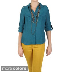 T by Hailey Jeans Co. Women's Point Collar Button-up Shirt