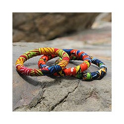 Handcrafted Cotton 'Akonode' Bangle Bracelets (Set of 3) (Ghana)