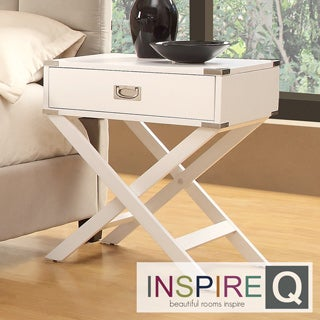 Inspire Q Neo White Accent Table with X Leg Nightstand