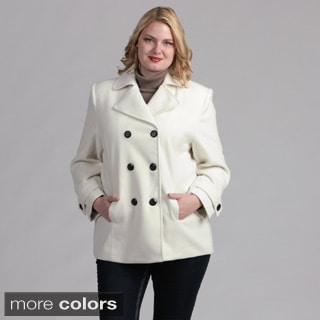 Fourteen-Zero Women's Classic Plus-size Double-breasted Pea Coat