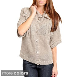 Stanzino Women&#39;s Button-up Short Sleeve Sweater Top