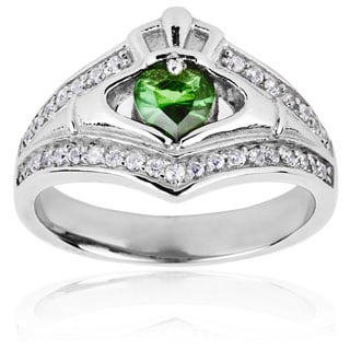 Stainless Steel Claddagh Green Heart Cubic Zirconia Ring