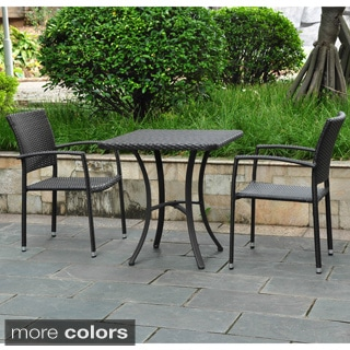 International Caravan Barcelona Resin Wicker/Aluminum 28-inch Square Bistro Table with 2 Armchairs
