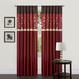 Lush Decor Cocoa Blossom Red 84 inch Curtain Panel Pair