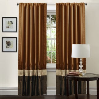 Lush Decor Mia Brown/Rust Pieced 84 inch Curtain Panel Pair