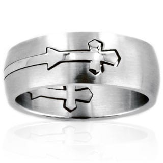 Stainless Steel Domed Cut Cross Ring