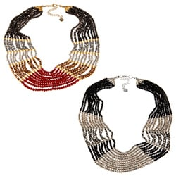 Cubic Zirconia and Bead Bib Fashion Necklace