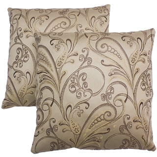 Abbyson Living Havana 18-inch Cream Patterned Decorative Pillows (Set of 2)