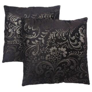 Abbyson Living Composure 18-inch Black/ Silver Decorative Pillows (Set of 2)