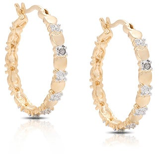 14k Gold Overlay Heart Diamond Accent Hoop Earrings with Gift Box