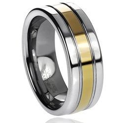 Daxx Men's Tungsten Carbide Grooved Goldplated Band (8 mm)