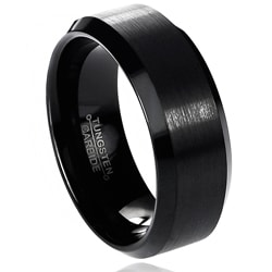 Daxx Men's Tungsten Carbide Brushed Beveled Edge Band (8 mm)