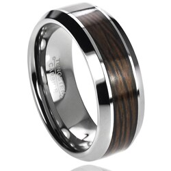 Daxx Men's Tungsten Carbide Wood Inlay Band (8 mm)