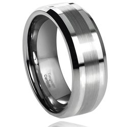 Daxx Men's Tungsten Carbide Brushed Center Band (8 mm)