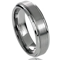 Daxx Men's Tungsten Carbide Brushed Center Stepped Edge Band (6 mm)