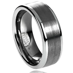 Daxx Men&#39;s Tungsten Carbide Brushed Raised Edge Band (8 mm)