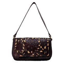 Leather 'Chrysanthemum' Medium Shoulder Bag (Mexico)