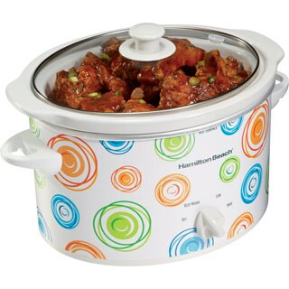 Hamilton Beach 33138 Swirl Pattern 3-quart Oval Slow Cooker