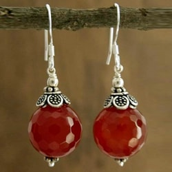 Sterling Silver 'Jaipur Sonnet' Carnelian Earrings (India)