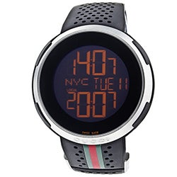 Gucci Men's 'I Gucci' Black Digital Dial Black Rubber Strap Watch