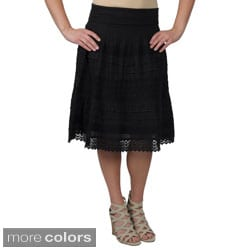 Journee Collection Juniors Crochet Detail Tiered Skirt