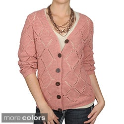 Journee Collection Women's Button-up Crocheted Cardigan