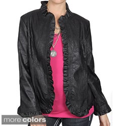 Journee Collection Women's Ruffle Detail Pleather Jacket