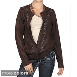 Journee Collection Women's Long-sleeve Flower Embellished Cardigan