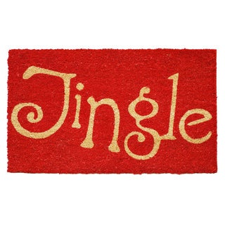 Jingle Red Coir Door Mat with Vinyl Backing (17 x 29)