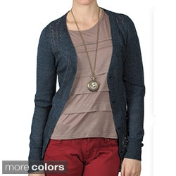 Journee Collection Women's Long Sleeve Button Front Crochet Cardigan