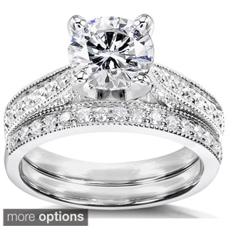 Annello 14k White Gold Moissanite and 1/3ct TDW Round-cut Diamond Bridal Ring Set (G-H, I1-I2)
