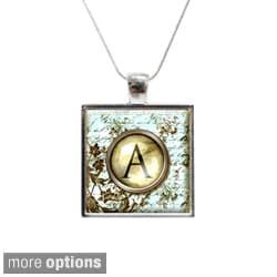 Vintage Style Monogram Personalized Glass Pendant and Necklace