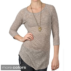 Journee Collection Women's Half-sleeve Scoop Neck Tunic Top